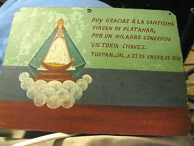 Vintage Exvoto/ Retablo Woman Thanking Our Lady Mary For Miracle Performed 1970