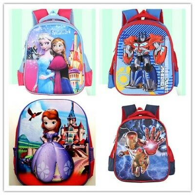 Gift Girls Boys Backpack Bags Elsa Anna Dora Spider Iron Man Transformers Sofia