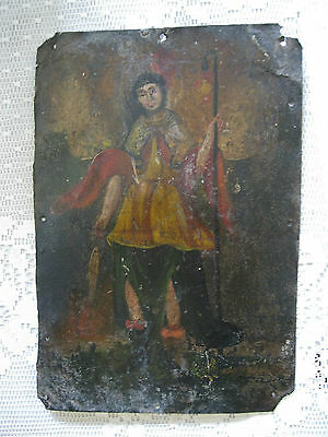 Original Antique Retablo On Tin Image Of The Archangel Raphael 7'' By 10''