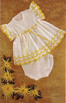VINTAGE KNITTING PATTERN  COPY - LACY  BABY OUTFIT TO KNIT - DK,QK & 4PLY-1960's