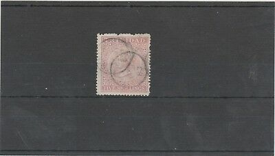 TRINIDAD 1869 QUEEN VICTORIA 1 X SG113 5s ROSE LAKE WMK CROWN CC USED STAMP