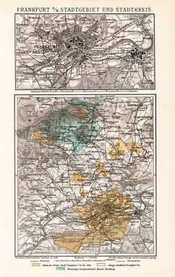 Frankfurt on the Main & Outskirts City Map Lithograph 1892 old historical map