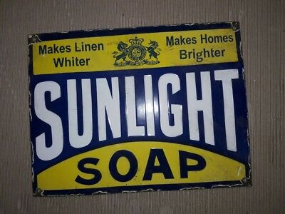 """Porcelain SUNLIGHT SOAP Sign SIZE 16"""" X 12"""" INCHES"""