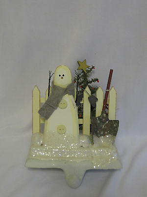 Midwest Cannon Falls Cast Iron Stocking Holder Snowman White Picket Fence Rare