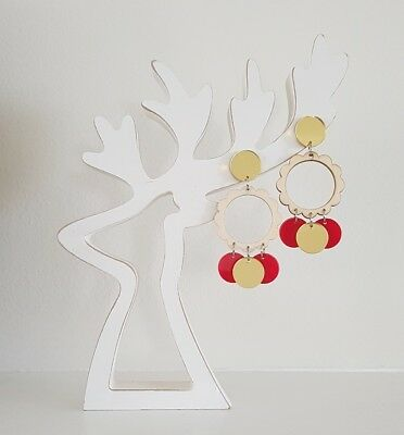 Statement stud Christmas cheer dangle stud earrings wooden acrylic pads red gold
