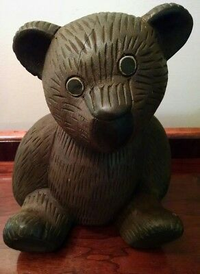 Old Rustic Folk Art Teddy Bear Cub Hand Carved Wooden Sculpture Baby Boy Nursery