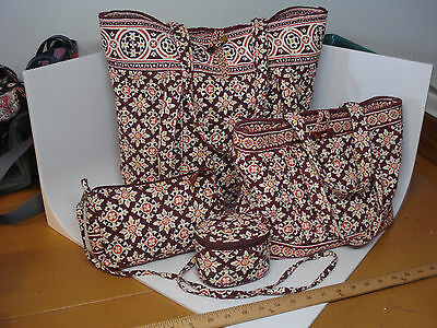 Vera Bradley Retired Medallion 4pc Set 2 Toggle Totes Amy Cross Body Jewely Bag