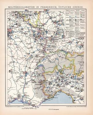 MILITARY DISLOCATION Bases Eastern France Lithograph 1892 old historical print