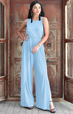 6edb197f85c Womens Sleeveless Cocktail Wide Leg Elegant One Piece Jumpsuit Romper  Playsuit