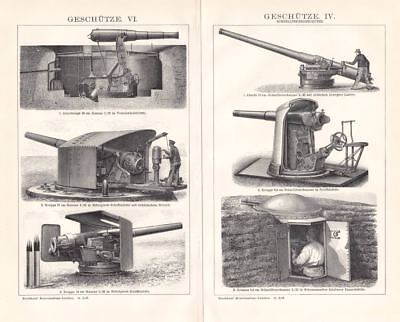Howitzer Cannon Krupp Gruson Armstrong Europe Artillery Engraving 1894 old print