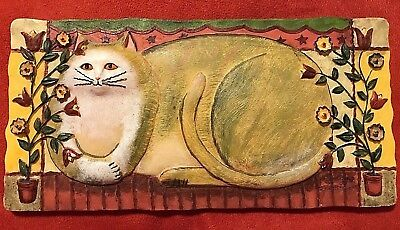 "Cute Kitty Cat Wall Plaque 3D Sculptured Resin by Eileen Smithson EUC 8-1/2Wx4""H"