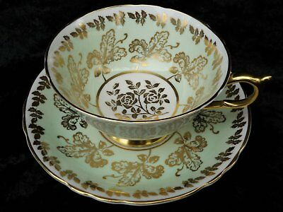 Paragon Gold Gilt Acorns and Roses on Pistachio Green China Cup and Saucer A1250