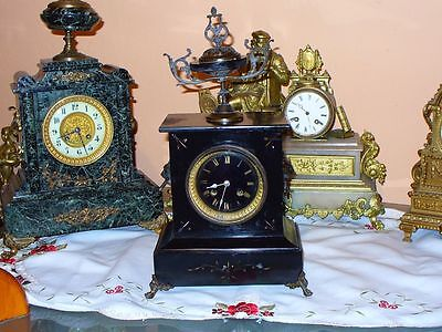 Antique Heavy French Black Marble Clock