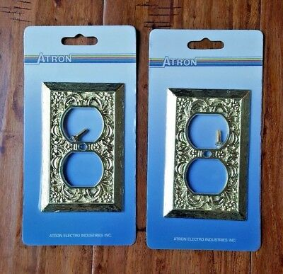 Lot of 2 Altron Vintage Ornate Filigree Metal Brass Outlet Wall Plate Covers NOS
