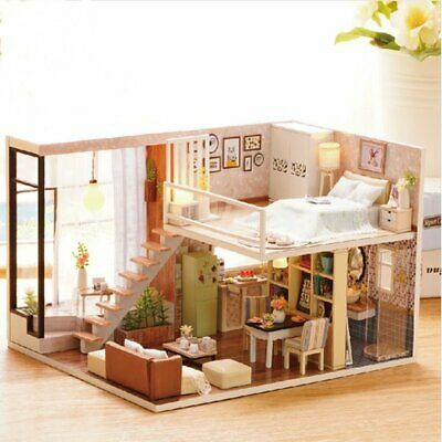 [NEW] Cuteroom Doll House Miniature DIY Dollhouse With Furnitures Wooden  House W