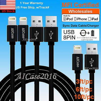 AICase MFI Cable Lightning Charger Data Sync USB Cord For iPhone X 8 7 6S 6 Plus