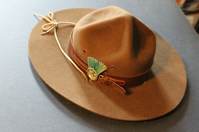 Vintage Boy Scout Leader Campaign Hat w Badge Plume & Strap Made in Canada