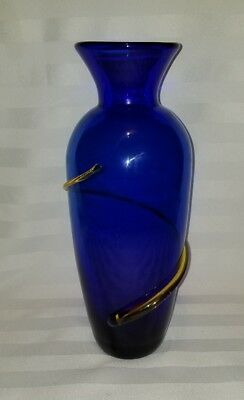 "Signed Richard BLENKO GLASS 12"" SWIRL VASE Cobalt /Topaz(Yellow)"