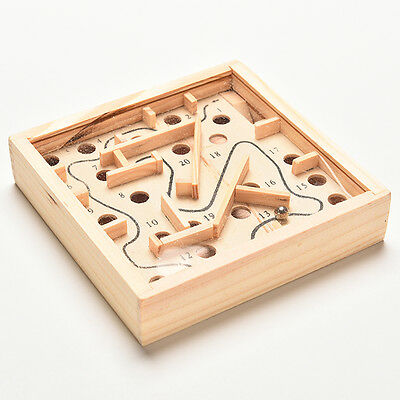 Classic Toy Square Balance Board Game Wooden Maze Kids Playing Props GD