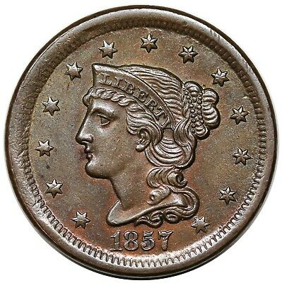 1857 Braided Hair Large Cent, Small Date, N-4, UNC