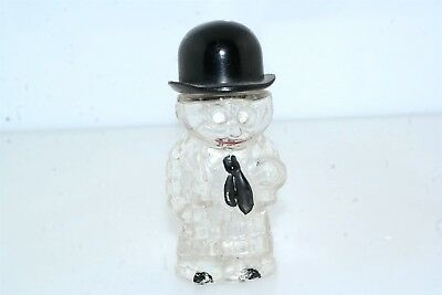 Vintage Little Gentleman Man Top Hat Glass Perfume Bottle / Candy Container