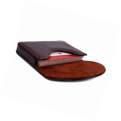 Leather Business Name Card Holder Case Wallet Credit Card Book with Magnetic Shu