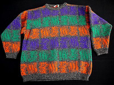 VINTAGE 80s BENETTON shetland wool knit sweater made in ITALY neon retro bright
