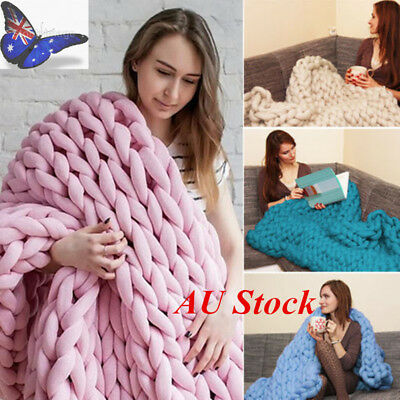 AU 60*60cm/100*80cm Chunky Knitted Thick Blanket Hand Yarn Bulky Knit Throw Sofa