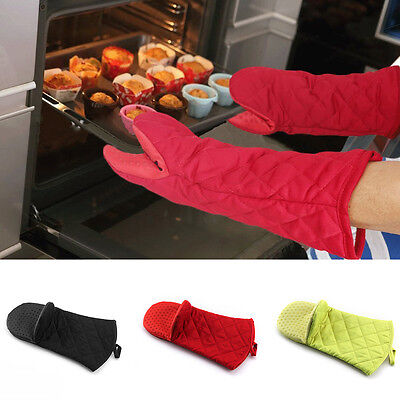 2 PCS Kitchen Oven Glove Heat Resistant Silicone Pot Holder Bake BBQ Cook Mitts