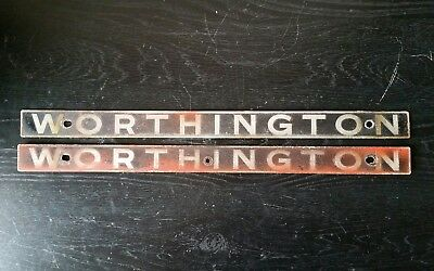 Vintage Pair Of Industrial Machine Plaques Signs Worthington Machine Age
