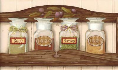Spice Rack Wallpaper Border Sage Pepper Herb Spices Country Kitchen Wall Decor