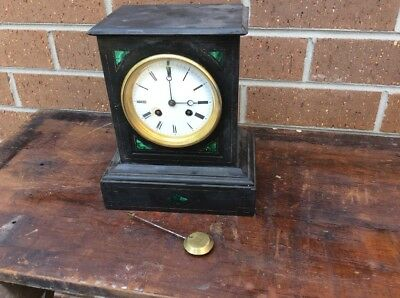French  Black Slate & Marble  Mantle Clock 8 Days Time Piece Only