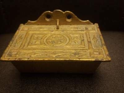 Antique Vintage Solid Brass Trinket Box ? w/ a hole on the bottom 3.5x2.5x2""