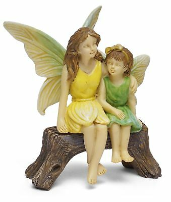 "2.75"" My Fairy Gardens Mini Figure - Sisters Sitting on Bench Miniature Figurine"