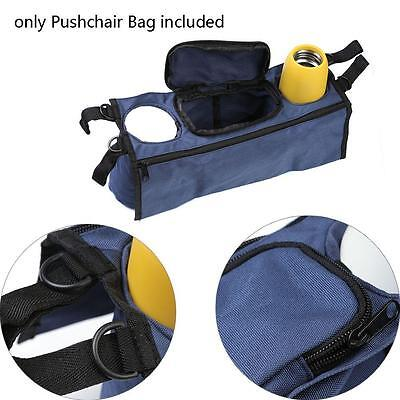 Baby Stroller Pram Pushchair Safe Console Tray Cup Organizer Bags Navy Blue ZH