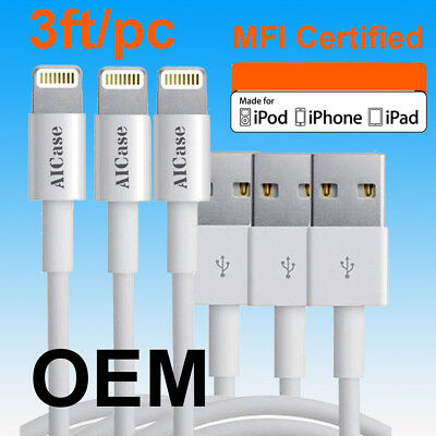 OEM 3ft MFI Apple Certified Lightning Charging USB Cable F iPhone X 8 7 6s + LOT
