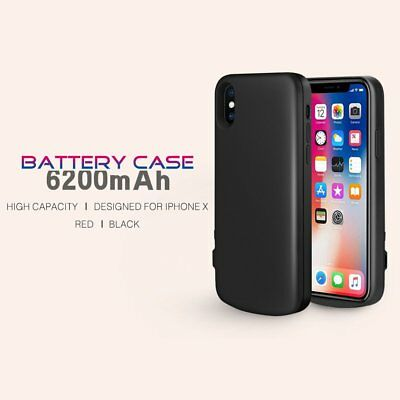 For iPhone X Battery Case 6200mAh Slim Extended Rechargeable Charging Cover Pack