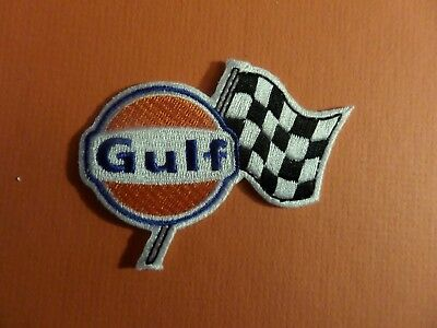 GULF OIL ORANGE & BLUE & BLACK Embroidered 2-1/2 x 3 Iron On Patch