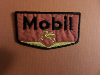 MOBIL OIL RED & BLACK & RED Embroidered 3 x 1-3/4 Iron On Patch