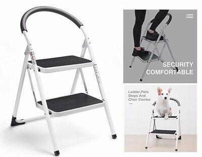 Ladder 2 step folding stool metal steel white portable household kitchen safety