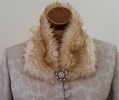 Vintage 1980s CREAM Acrylic Fur Acetate Back Detachable Collar Piece ONE SIZE