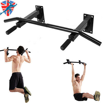 Wall Mounted Pull Up Pull Up Bar Home Gym Station Dip Black with Foam Handle UK