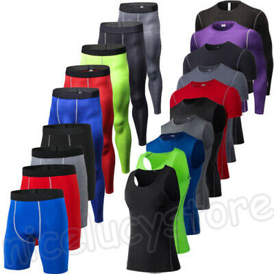 UK Mens Compression Baselayer Armour Top Wicking Shirt Under Tank Legging Shorts