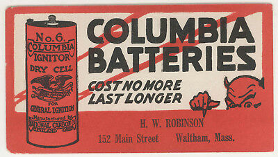 Vintage No 6 Columbia Ignitor Dry Cell Batteries Ink Blotter Devil Waltham MA