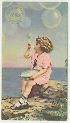 Vintage Child Blowing Bubbles Better Sox Mills Ft Atkinson Wisconsin Ink Blotter