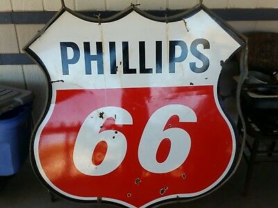 """Phillips 66 double sided porcelin sign with original frame """"NICE"""""""