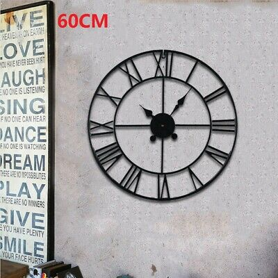 Skeleton Garden Wall Clock Big Roman Numerals Large Open Face Metal 60Cm Round