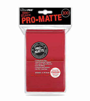 100ct Red Matte Deck Protector Card Sleeves Pokemon MTG Sports + Ultra Pro