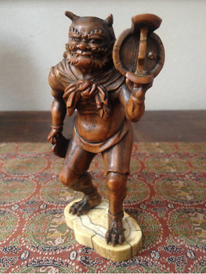 Japanese Traditional Antique Buxus microphylla Demon Hand-Carved Wooden Figure
