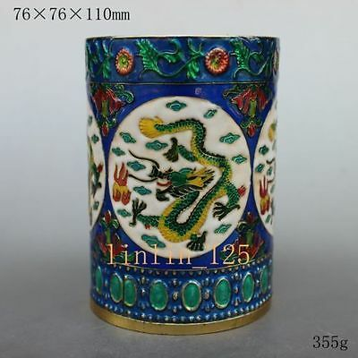 Chinese old Collect rare Delicate Cloisonne handwork Dragon Brush Pots NR16